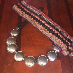 2 pcs Leather Metal Concha Belt / Boho Knit Scarf